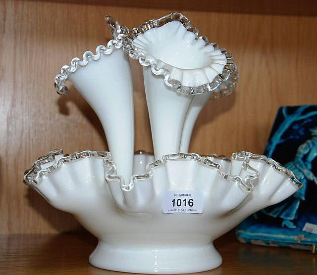 A vintage milk glass, 3 trumpet epergne with clear