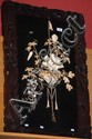 Antique Japanese inlaid wall plaque with ivory &