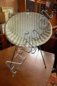 Mid-Century saucer chair, plastic weave upholstery