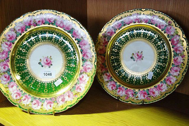 Early Royal Crown Derby display plates, retailer