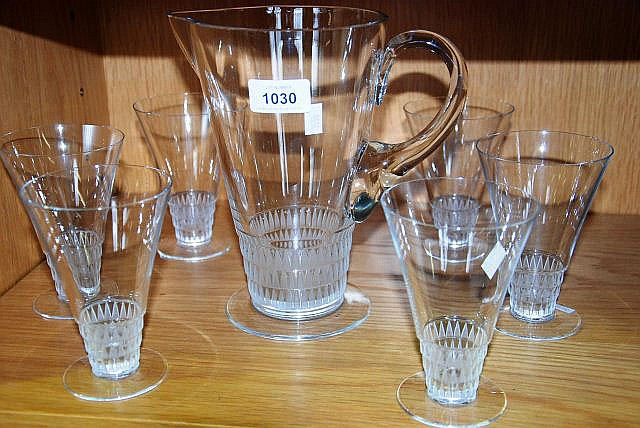 A Lalique French crystal set of 6 goblets and a