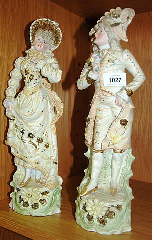 Pair of antique bisque figurines of a courting