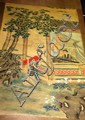 Chinese watercolour scroll of 2 maidens in a