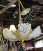 Vintage art deco hanging light fitting, gold metal