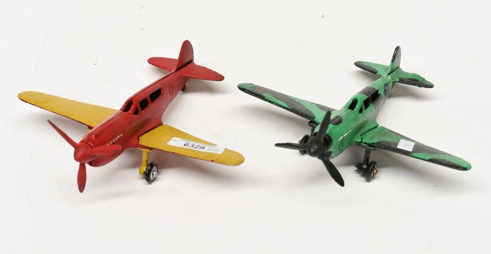 Two cast metal World War II Aeroplanes, 20cm L x 20cm wing span