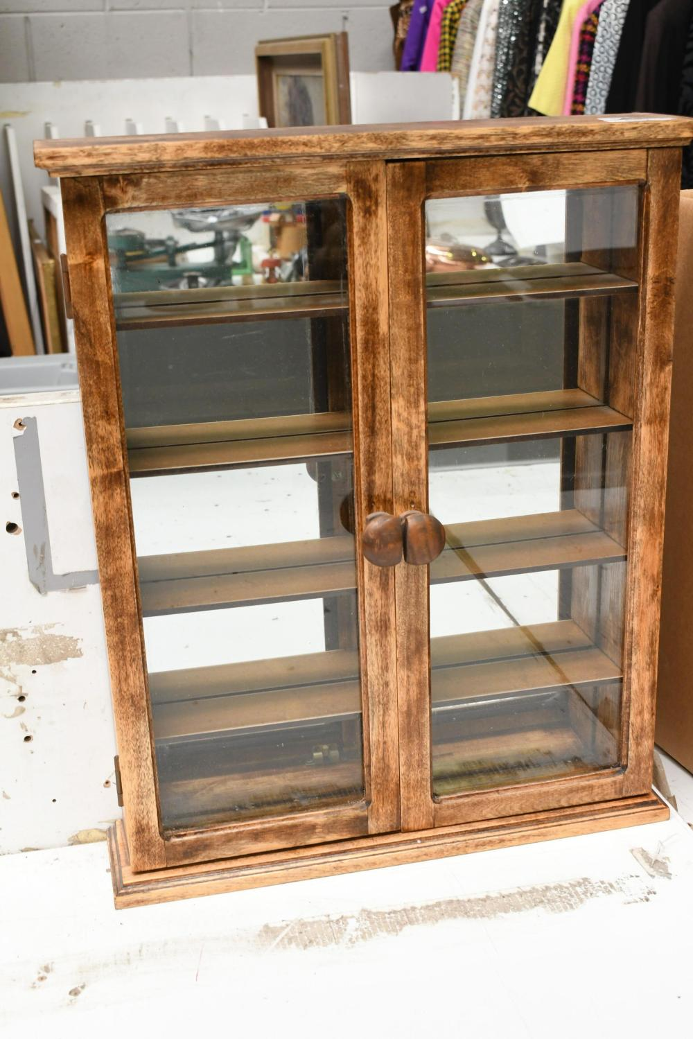 Small wall mounted display cabinet, 50cm H x 40cm W x 10cm D