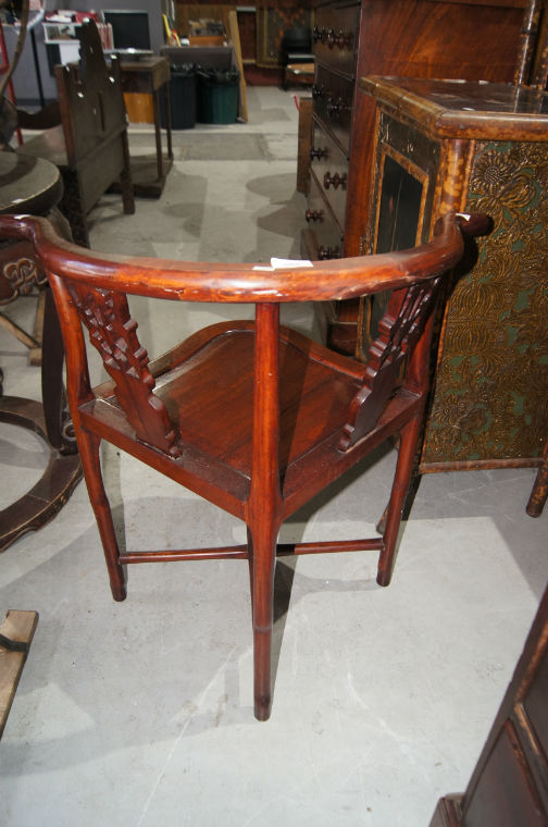 vintage chinese rosewood corner chair wishbone shape back. Black Bedroom Furniture Sets. Home Design Ideas