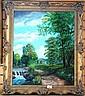 M Komedera, oil on canvas, a landscape scene with