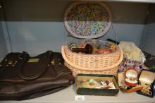 Ladies hand bag, qty of costume jewellery,