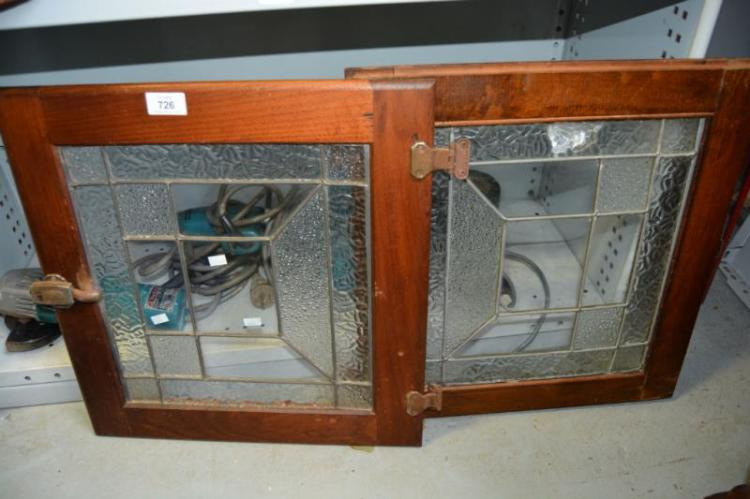 Pair of kitchen cabinet leadglazed doors for Auctions for kitchen cabinets