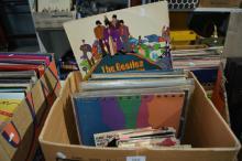 Box of LP records & single records