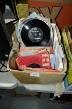 Box of single 45's records