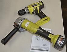 Ryobi 18V 115mm angle grinder and cordless drill