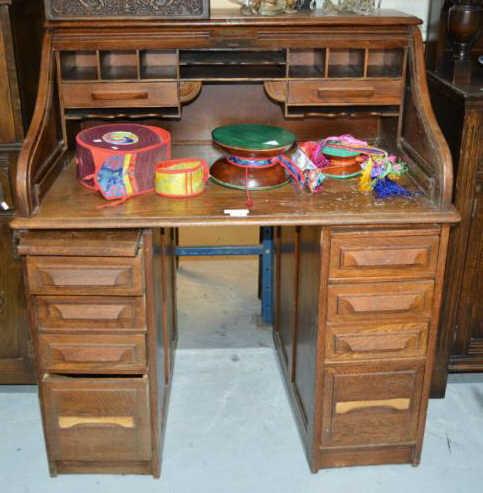 Early 20thc Cutler Oak Roll Top Desk