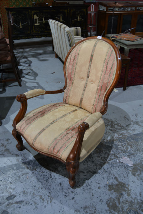 Victorian style arm chair with open arms