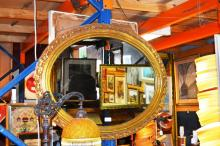 Oval wall mirror, vintage, timber gilt frame, 86cm wide