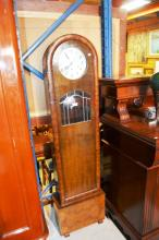 Art deco German grandmother clock, walnut case, pipe striking, comes complete with key & pendulum & instructions, 168cm T