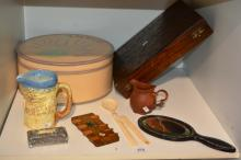 Oak cutlery canteen case, a French style painted circular storage box, antique olive wood bridge scorer, inlaid lacquered hand mirror, terracotta jug, old bone tongue depressor etc