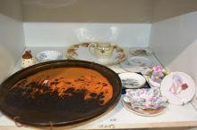 Large studio pottery platter, copper glaze, pin dishes incl. Brownie Downing, Royal Crown Derby, Shelley etc