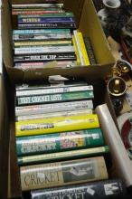 2 boxes of cricket related books, mostly Australian