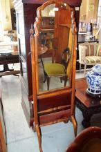 Good vintage burr walnut cheval mirror in the Queen Anne style on nicely shaped frame with a stretcher base support on 4 pad feet, overall H 157cm