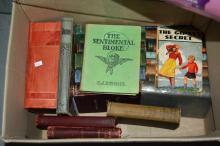 Box of vintage books incl. early religious books, 'The Sentimental Bloke' by C.J. Denis, children's books etc