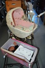 2 items: vintage child's pram, woven cane, together with a Cabbage Patch kid doll in original box with birth certificate