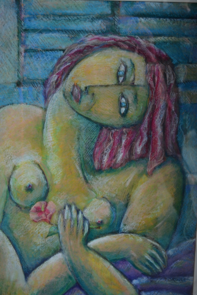 Graham Borough, still life nude, oil pastel on paper, signed, 75 x 50cm
