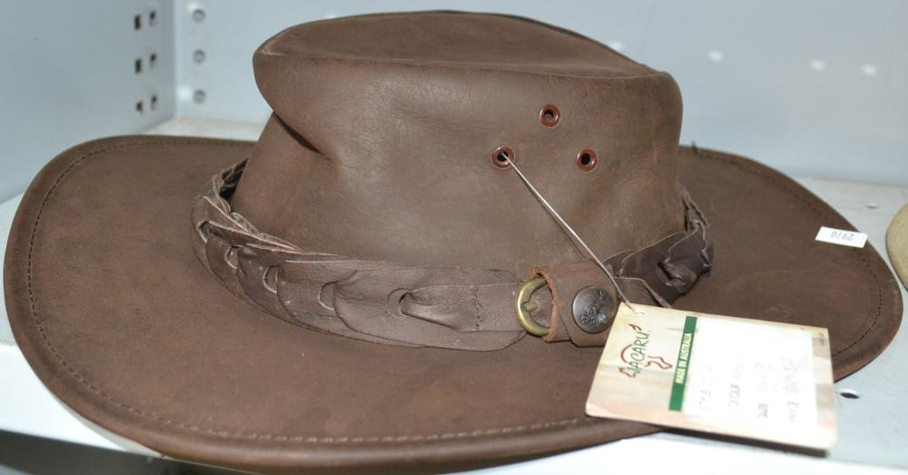 2 x Australian made leather hats in small size,