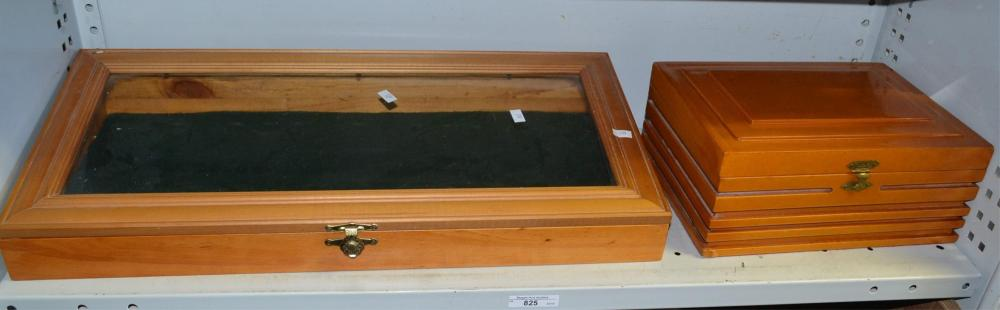 2 items to incl. a pine desktop display case with