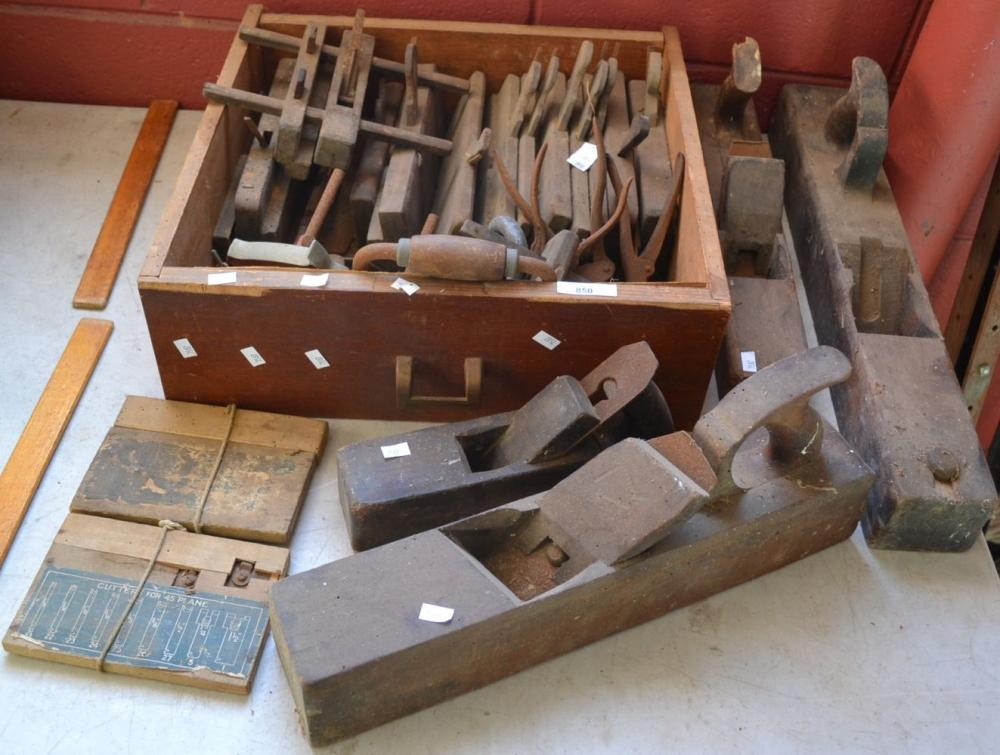 Collection of vintage woodworking planes