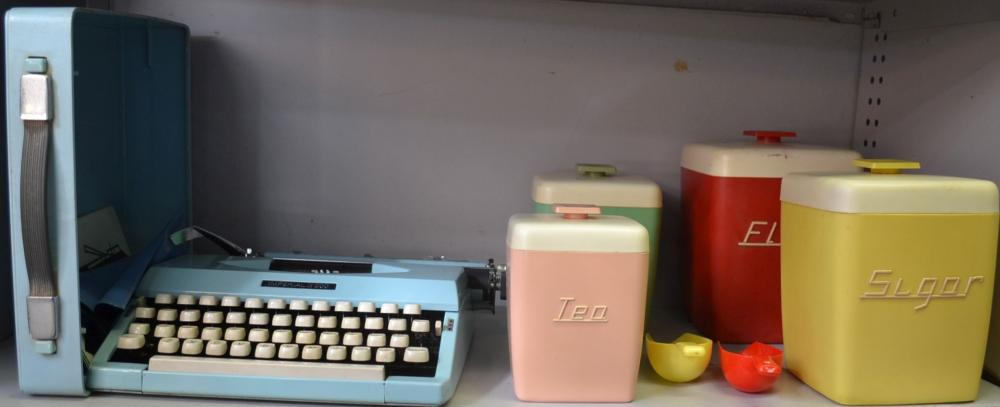 Shelf of items to incl. an Imperial 200 typewriter