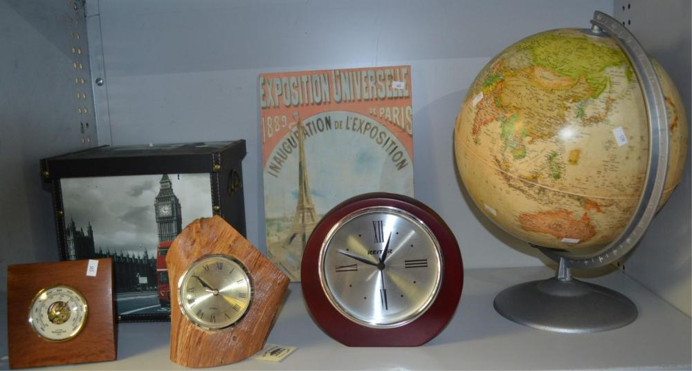 Shelf of items to incl. world globe,