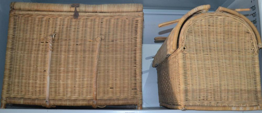 2 assorted cane baskets