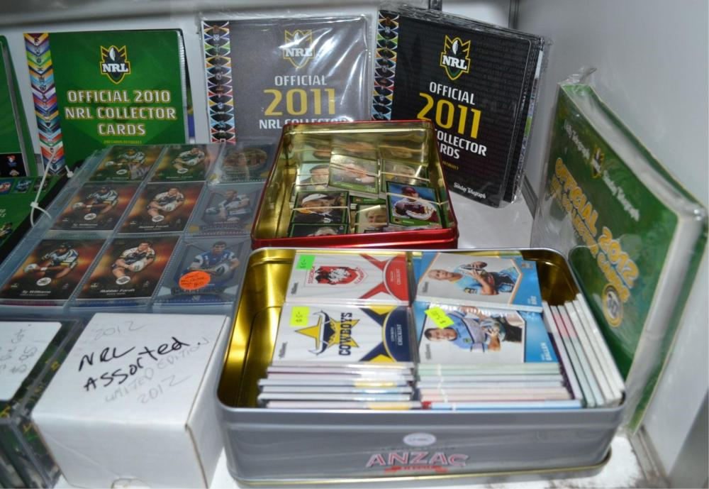 Shelf of assorted NRL collector cards