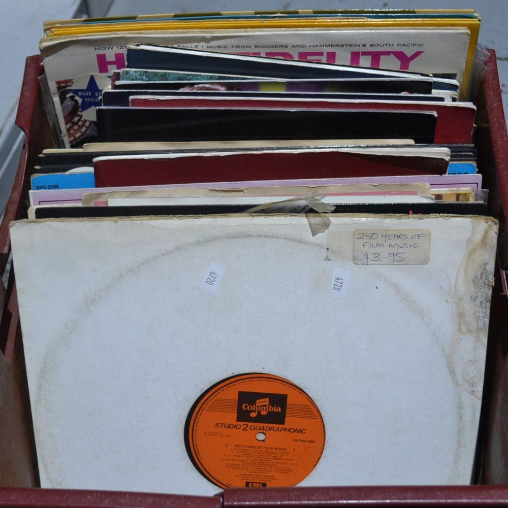 Plastic crate containing LPs