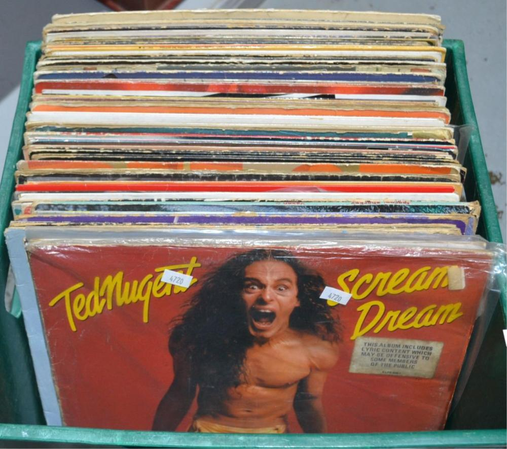 Plastic tub of approx 66 assorted LPs