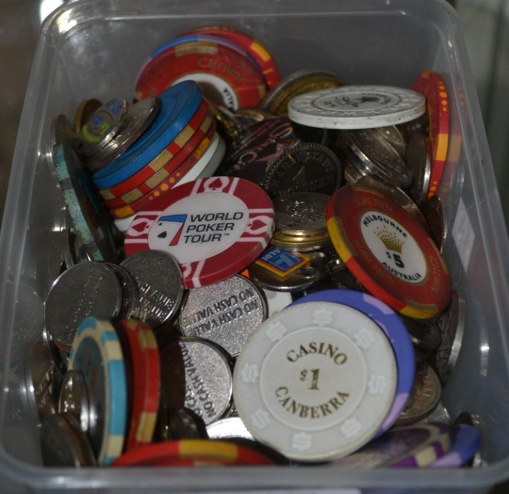 Box of gambling tokens