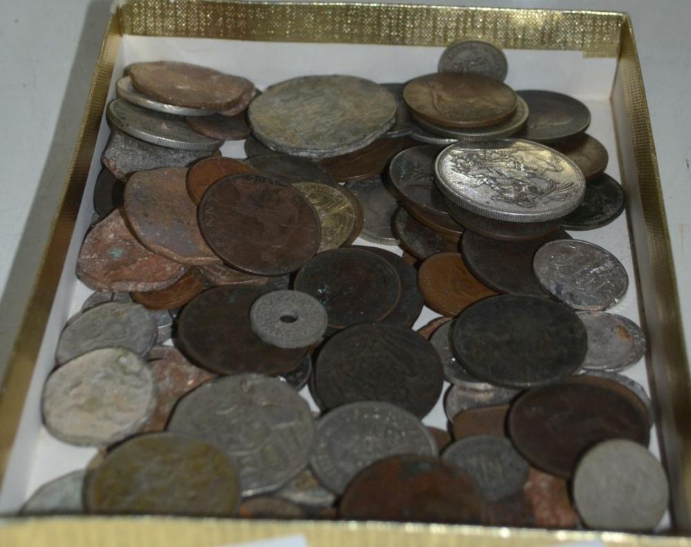 Box of coins, UK, Australian & world