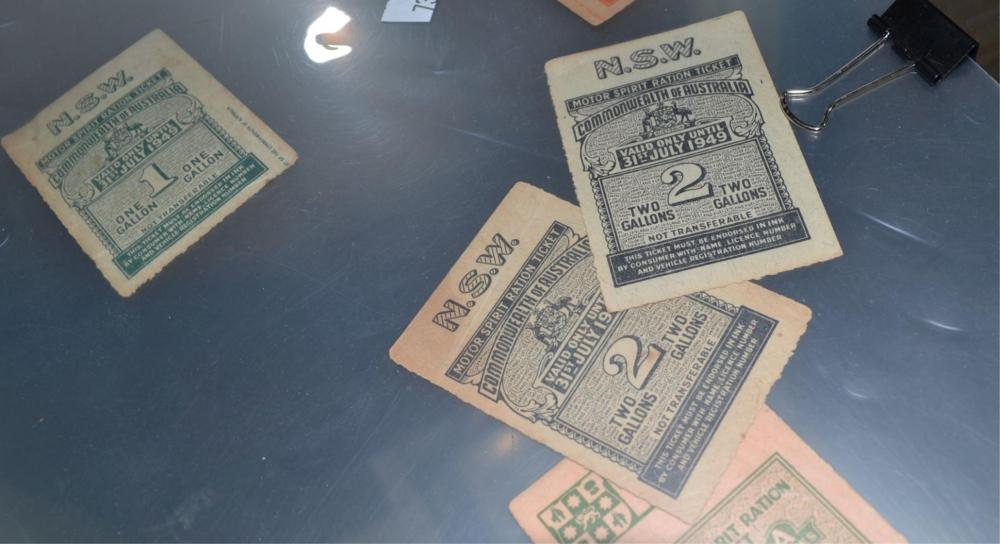 8 vintage NSW Motor Spirit ration tickets