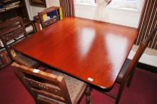Square form dining table, Regency style,