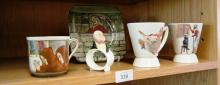 5 x pieces of Royal Doulton - incl. beaker & mug with children's nursery rhyme images, a napkin ring with Mr Micawber, a cup & side plate from the 'Jackdaw of Rheims' series