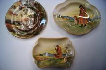 3 x Royal Doulton dishes incl. 2 x 'The Cotswold Shepherd', various shapes, note: larger one cracked, together with one showing cedar cutters, 26.5cm D