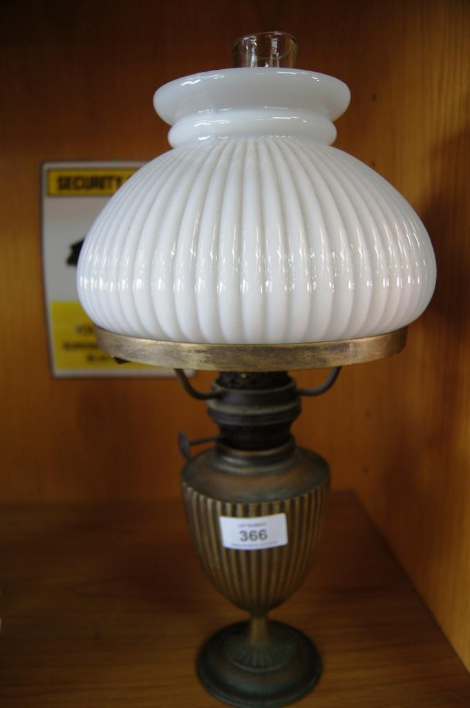 Vintage Oil Lamp Milk Glass Shade Clear Glass Chimney