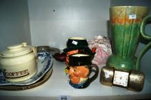 2 x character figurines incl. Royal Doulton, Beswick ewer jug, various pottery pieces, travel alarm clock etc