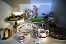 Assorted china incl. Royal Crown Derby cream jug and sugar bowl, 2 Royal Doulton plates, Wedgwood lilac Jasperware lidded rouge pot, studio pottery vase, Royal Winton 'Tiger Lily' dish, ornamental vase with swan etc