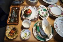 Collection of European dinner ware, cake plate, Aynsley, Royal Doulton