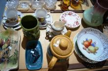 Qty of porcelain items incl. a Poole dish, Japanese brodie jug, 2 English china trios, Royal Doulton dish, Aust. pottery vase
