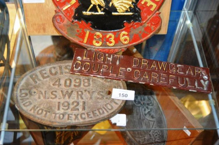 2 Vintage Railway Plates Incl An Nsw