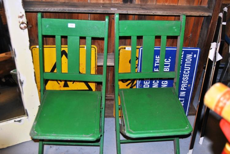 2 Vintage Green Painted Theatre Chairs Foldable